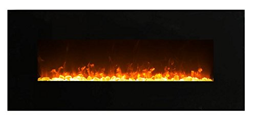 Elektrokamin Glow Fire Mars, 130 cm breit, Wandkamin elektrisch (1500 Watt Heizlüfter, Farbige LED-Beleuchtung; Glasscheibe, Dimmer, Fernbedienung) schwarz (Flammen mit Kristalldekoration)