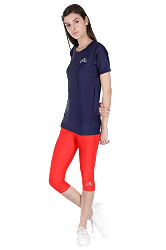 FILMAX® Swimming Costume Lycra T-Shirt & Tights Set for Women Wear (Navy Blue & Red_5XL)