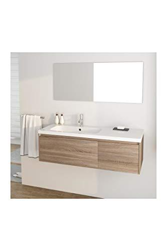 Générique Girona Ensemble Meubles de Salle de Bain Simple Vasque + Miroir l 120 cm - décor Sonoma