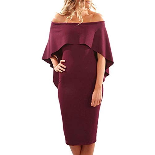 Rocke Womens Flare Cold Off Schulter Batwing Cape Sexy Party Bleistift Rüschenkleid (Color : Wein, Size : XL) (Bauer Rock A-linie)