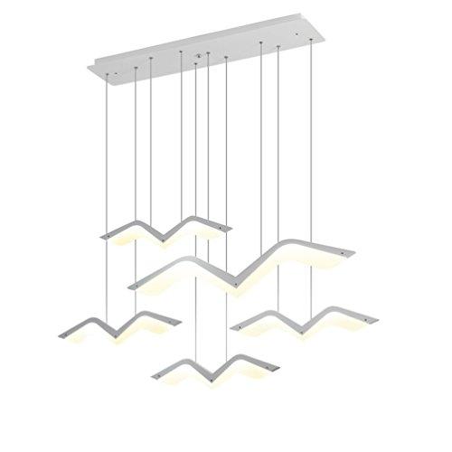 Minimalistische LED Pendelleuchte mattweiß Pendellampe Möwe Form Kreative Design Hängeleuchte Modern Esszimmerlampe Innenbeleuchtung Dekorative Personalisierte Acryl Lampeschirm Warmes Licht 3000K , 5-flammig