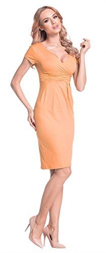 Glamour Empire Femme Robe été effet cache-coeur Manche courte Robe fourreau 573 Abricot