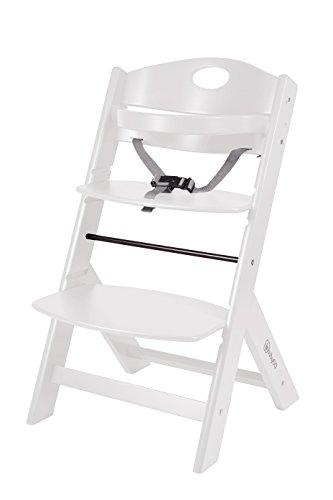 BabyGO 5854 Treppenhochstuhl Holz aus Buche Massiv - mitwachsend, weiß