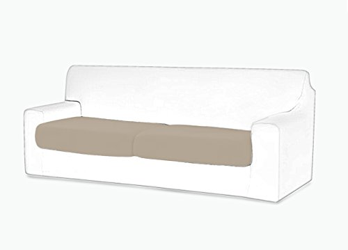 Coppia copriseduta per cuscini divano in tinta unita panna