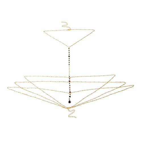(Edelstein Charme Halskette Körper Kette Körperschmuck Sexy Multilayer Einfache Kette Für Damen Mädchen Outfit Bar Party Zubehör (Gold, Silber) Gold)