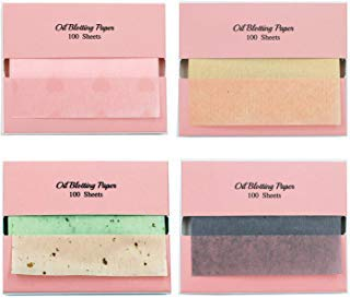 [400 Counts Assorted Refills Only] 4 Types of Face Oil Blotting Paper Sheets Refill - Bamboo Charcoal + Sweetheart + Green Tea + 100% Natural Linen Fibers Oil Absorbing Sheets Made in Japan