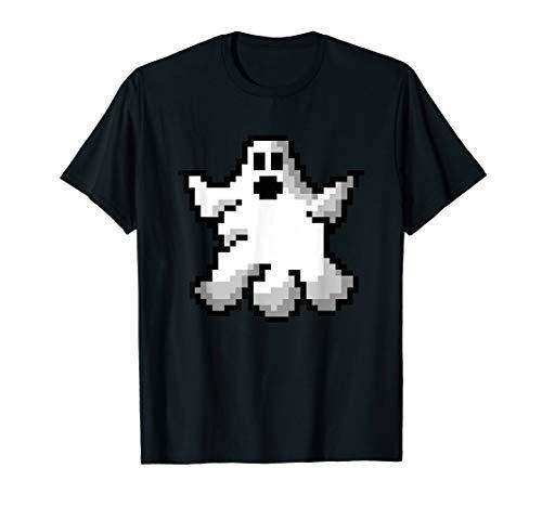 Pixel Art Game Ghost Halloween Bitmap Boo Gamer  T-Shirt (World 2019 Adventure Halloween-party)
