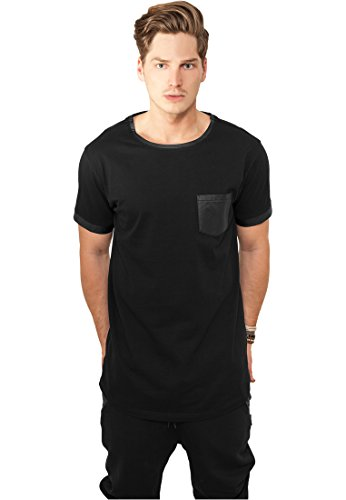 Urban Classics Long Shaped Leather Imitation Tee, T-Shirt Uomo Blk/Blk