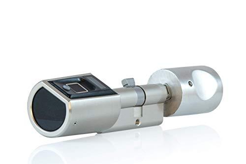 SOREX FLEX 2.0 Fingerprint & RFID Türöffner mit österreichischem Support! - Zylinder längenverstellbar, schnelle einfache Montage, elektronisches Türschloss, inkl. VARTA Batterien, Edelstahl gebürstet