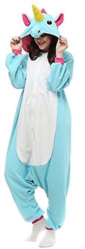 Animal style kigurumi Pyjama Adulte Anime pyjamas tenue Onesie Cospaly Fete Flannels costume (Small, Licorne Bleu1)