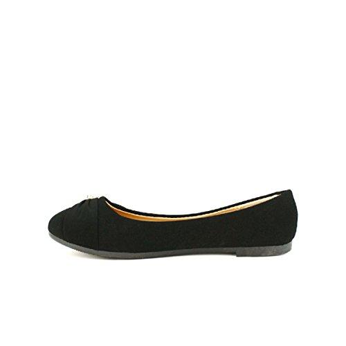 Cendriyon Ballerine Noire Perles FLAMS Chaussures Femme Noir