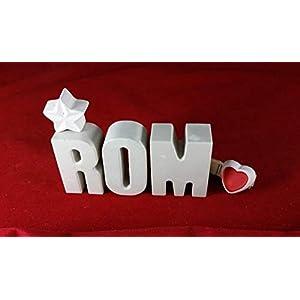Beton, Steinguss Buchstaben Städtenamen ROM Reise Hotel mit Stern und Herzklammer. Überraschen Sie doch Ihren Partner/in…