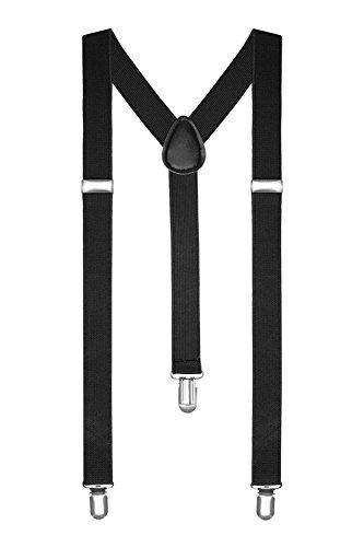 BOOLAVARD Hosenträger Herren Damen Hosen Träger Y Form Style Clips Schmal Neon Bunt Farbig (1. Schwarz)