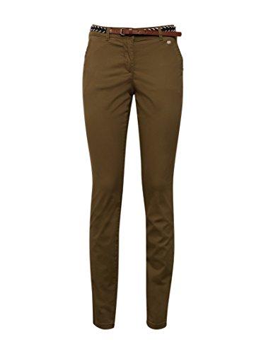 TOM TAILOR Slim Chino With Belt, Pantaloni Donna Verde (Dry Greyish Olive 7708)