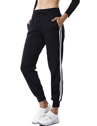 FITTOO Damen 2 Gestreift Streifen Freizeithose Jogginghose Hose Sportswear Style,Schwarz,M