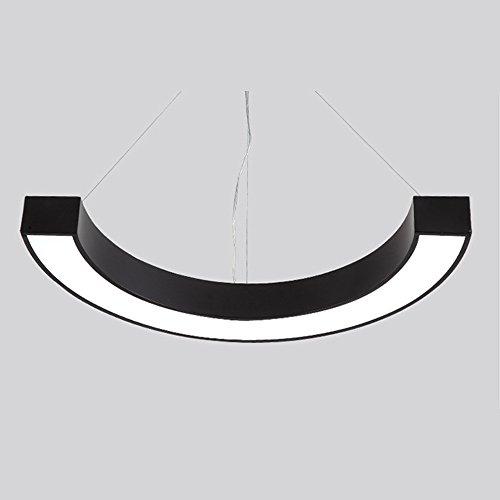 Bureau Européen Salle De Conférence Lustre Acrylique Rectangulaire Semi-Circulaire Créative Apprendre Pendentif Éclairage 50Cm LED Noir (Lumière Blanche) 30W