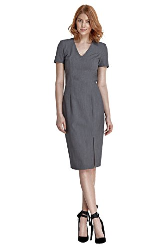 VictoriaV nife – Etuikleid mit kurzen Ärmeln und Schlitz Business-Kleid Bleistiftkleid Pencilkleid Abendkleid Knielang - Grau Größe 40
