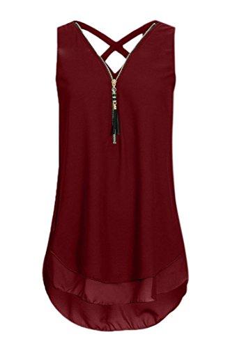 Yuson Girl Bluse Damen Bekleidung Kimodo T Shirt Bluse Tank Top Damen Camisole Sommer Lose Weste Schwarz Blau Rosa Große Größe Mode 2018 (S, Rot)