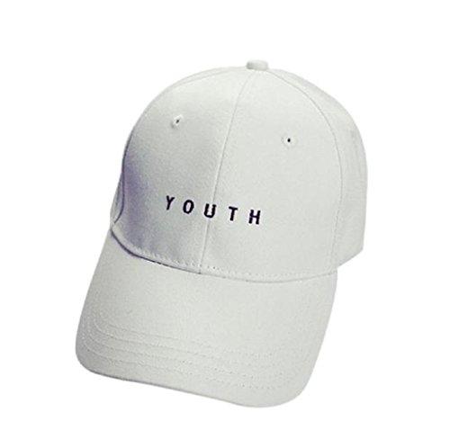 Loveso-Kappen Adult Fashion Stickerei Brief Cotton Baseballmütze Hysteresen-Kappen Hip Hop Hüte Sun Caps (Weiß(Youth)) Chino Youth Cap