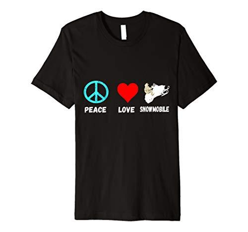 Snowmobile Peace Love Schneemobil Motorschlitten T-Shirt