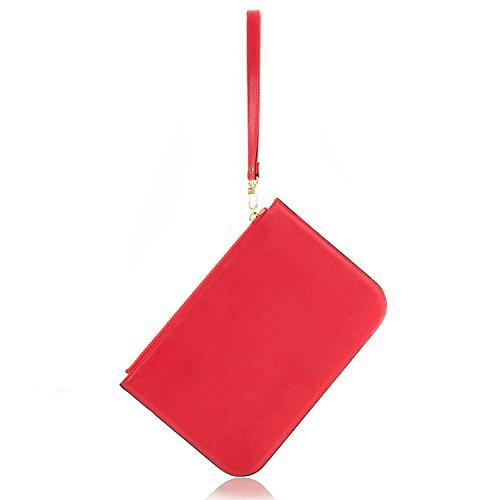 Portafoglio in genuino cuoio classico con cinturino da polso, Consistenza morbida, Cerniera di chiusura facile da trasportare, unisex (Rosa) Rosso