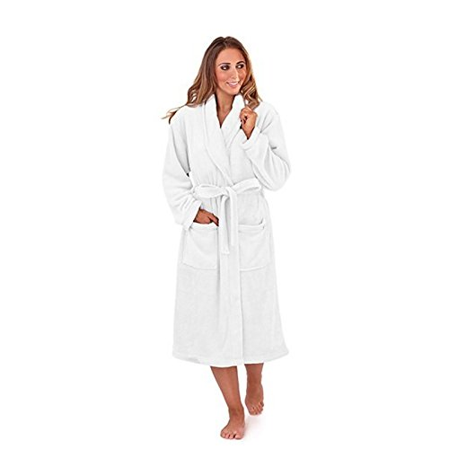 Damen Bademantel/Morgenmantel mit Gürtel - Flausch - Langer Schnitt Weiß - Weiß