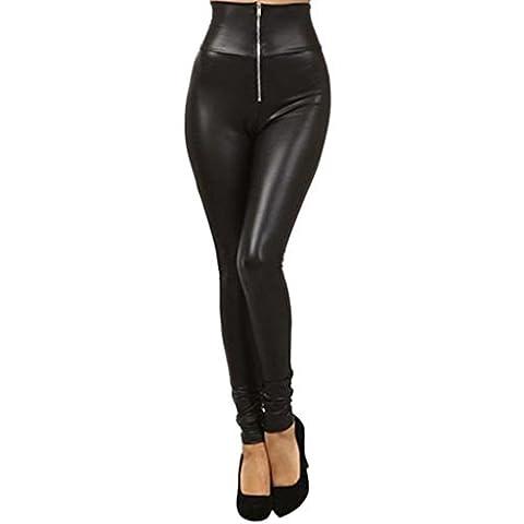Leayao Collant simili cuir extensible Taille haute Fermeture Éclair Legging Pantalon