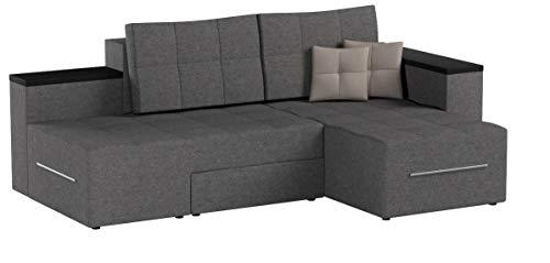 XXL Ecksofa mit Schlaffunktion 260 x 160 cm Grau - Eckcouch Relax Sofa Couch Schlafsofa Kissen Schlafcouch