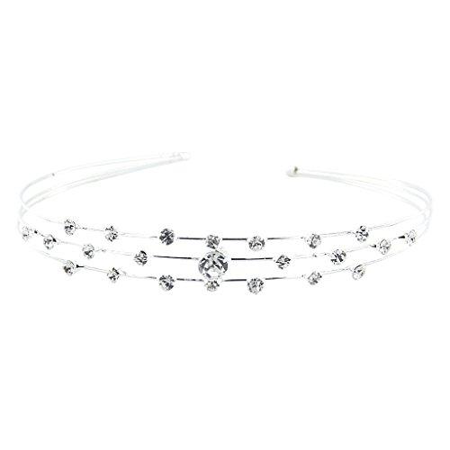 Tiara Diadema Con 3 Filas Con Diamantes Artificiales Para Fiesta Boda