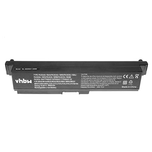 vhbw Li-ION Batterie 6600mAh 10.8V pour Ordinateur Portable, Notebook Toshiba Satellite C660D, L310, L311, L312, L315, L317, L322 comme PA3780U-1BRS.