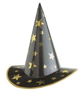 Hexe Zauberer Hut Sterne schwarz-gold Einheitsgröße (Sterne Hexe Hut)