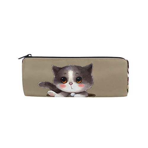 (bonipe Cute Cat Bleistift Tasche Schule Stationery Pen Box Reißverschluss Kosmetik Make-up-Tasche)