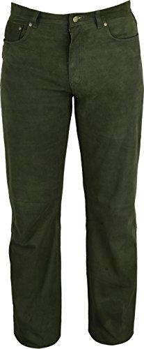 Jagd Lederhose Herren lang- Lange Lederhose Damen - Lederjeans- Echt Leder festem Nubuk - Lederhose Jeans 501 Olive- Motorrad Lederjeans - 5-pocket-leder-jeans