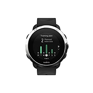 Suunto SS050018000 3 Fitness - Multisport Watch with GPS and built-in heart rate monitor, Matrix Display, Unisex Adult, Black / Silver (Black), One Size