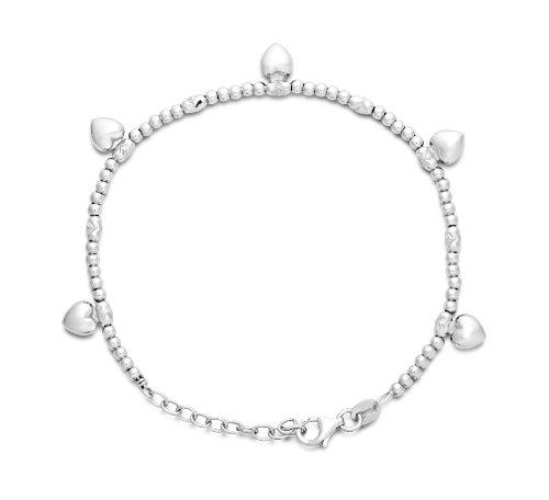 Miore Armband - Armreif Damen Silberfarbig 925 Sterling Silber mit Herz  20 cm