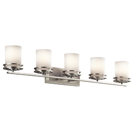 Cased Opal Shade (Kichler Lighting 5085NI Hendrik 5LT Vanity Fixture, Brushed Nickel Finish with Etched Cased Opal Glass Shades by Kichler Lighting)