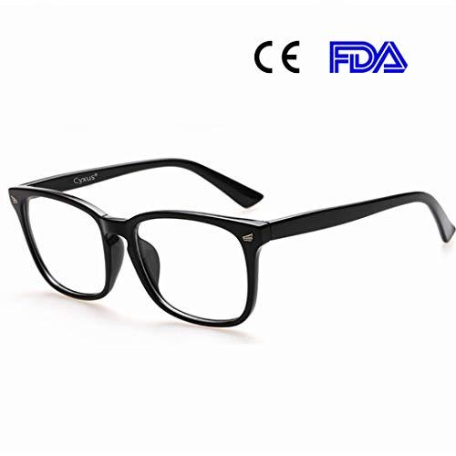 Cyxus Gafas de computadora con Filtro de luz Azul para Bloquear el Dolor de Cabeza por UV [Anti Eyestrain] Gafas clásicas, Unisex (Hombres/Mujeres) (Negro clásico)