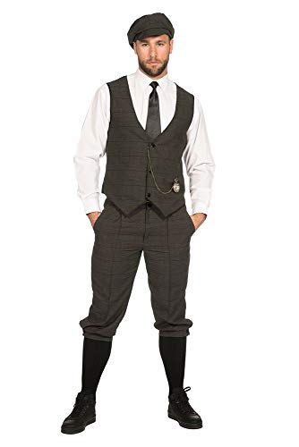shoperama 20er Jahre Peaky Blinders Anzug Knickerbocker Herren-Kostüm Oliv-Schwarz Weste Schiebermütze The Roaring Twenties 20's, Größe:64