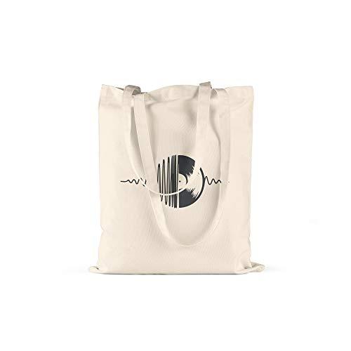 licaso Jutebeutel Bedruckt DJ Plattenspieler Print in Natur Baumwolltasche mit Langen Henkeln Beutel Motiv Druck Ökologisch & Nachhaltig Tragetasche 100% Baumwolle