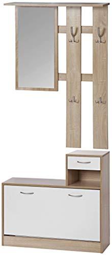 ts-ideen 3er Set Wand-Garderobe Spiegel Schuhkipper Schuhschrank mit Schublade und Ablage (Eiche Sonoma)