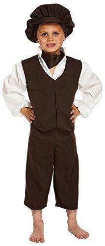 ngen Oliver Twist schlecht Viktorianischer Bengel Bauer büchertag Kostüm Kleid Outfit 4-12 Jahre - Schwarz, 7-9 Years (Viktorianische Kostüme Für Kinder)