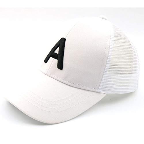 Sanjiayi Mode Neue Sommer Kinder Baseball Caps Brief Eine Stickerei Mesh Cap Outdoor Casual Schatten Hüte Jungen Mädchen Alter 2-8 Jahre,White