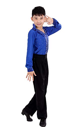 Tanz Kostüm Jungen Kinder - BOZEVON Jungen Klassiker Latein Tanz Kostüme Kinder Performance Tanzen Hemd Jazz Outfits, Tiefes Blau, 130/Geeignete Höhe-120cm