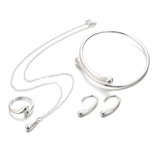 Idomes 4 Pcs Sterling Silver Necklace Earring Ring Bangle Set for Women