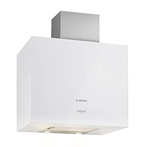 Klarstein Cuboo Extractor Hood • Cooker Hood • Exhaust Hood • 340m³/h Extraction Power • 3 Power Levels • Box-Shaped • Wall Mounted • Low Operating Noise of 60 dB • 2 x 1.5W LED lamps • Perfect for Grap Closure in Kitchenettes Above the Stove • White