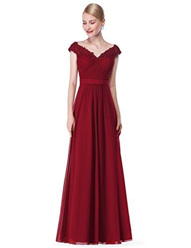 Roten Langen Kleid (Ever Pretty Damen Elegant V-Ausschnitt Lace Gebluemt Lang Abendkleid 36 Burgundy)