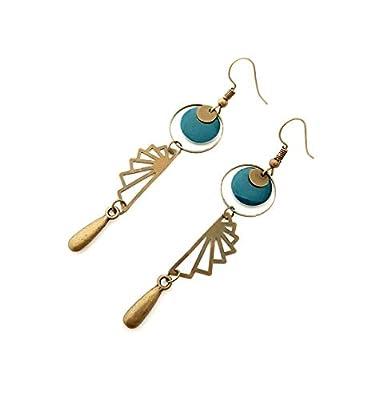 Boucle d'oreille ronde estampe bleu petrole goutte longue rond sequin carré bronze bohème géométrie ethnique moderne email pendante aztèque bijoux fantaisie original créateur femme