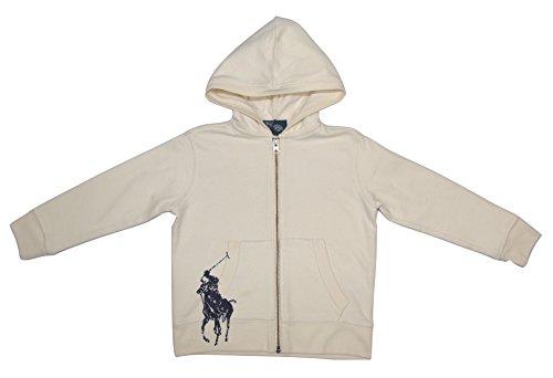 Ralph Lauren Kinder Jungen Sweatshirt Jacke mit Kapuze Hoodie Polo Reiter Markenlogo Print Weiß 104 (Ralph Lauren Jacke Jungen)