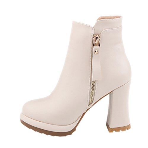 ENMAYER Talons hauts pour femmes Chaussures à talons ronds à talons Talons aiguillette et aiguille Abricot#G7