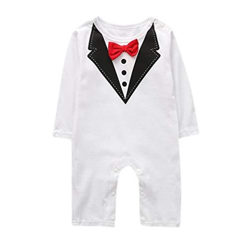 Elecenty Langarm Babyartikel,Neugeborenes Krawatte Drucken Kinderkleidung Strampler Spielanzug Mädchen Babyausstattung Romper Lange Hosen Junge Babybodys Gentleman Kleidung Outfits